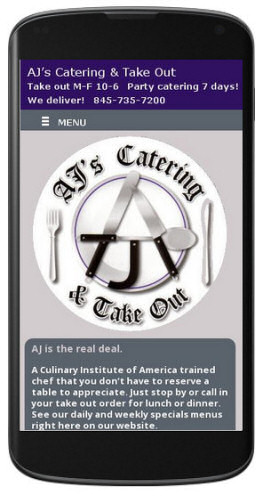 Catering by AJ website mobile view