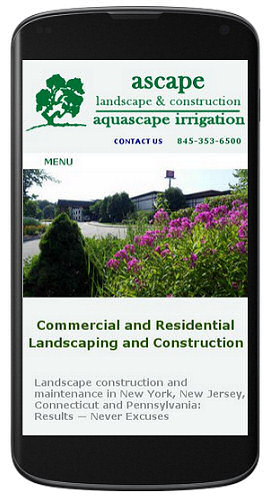 Ascape Landscaping website mobile view