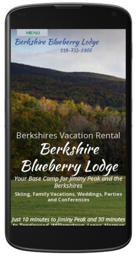 Berkshire Blueberry Lodge website mobile view