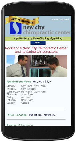 New City Chiropracatic website mobile view