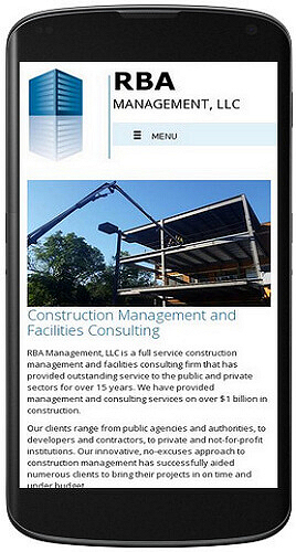 RBA Management website mobile view