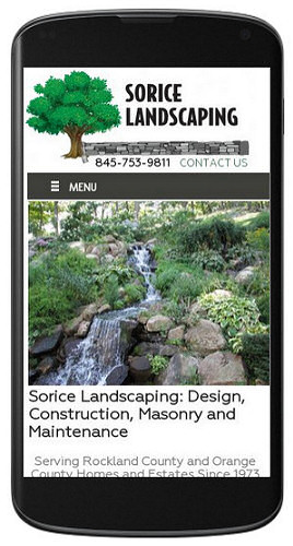 Sorice Landscaping website mobile view
